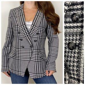 WHBM Black White Plaid Blazer Jacket Size 12